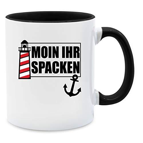 Shirtracer Statement Tasse - Moin Ihr Spacken mit Leuchtturm - schwarz - Unisize - Schwarz - Fun Tasse - Q9061 - Tasse für Kaffee oder Tee