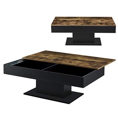 [en.casa] Couchtisch mit 2 Staufächern unter Schiebeplatte Wohnzimmertisch mit Truhefunktion Kaffeetisch Sofatisch Holz-Optik/Schwarz