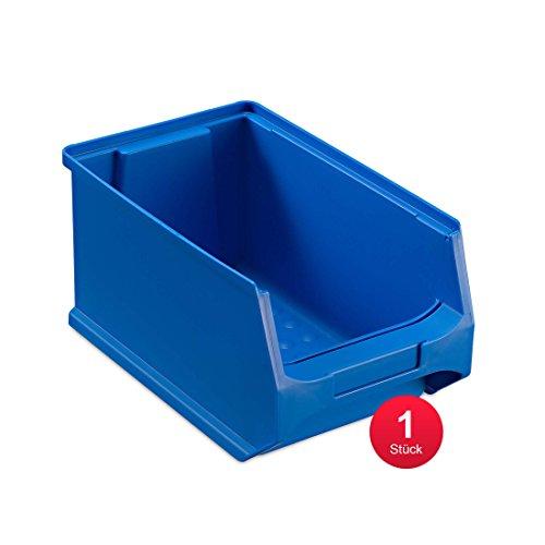 aidB Sichtlagerbox, stabile Stapelbox aus Kunststoff, Lagerbox, ideal für Kleinteile (3.0-235x145x125, rot, blau, gelb, grau) (Blau)