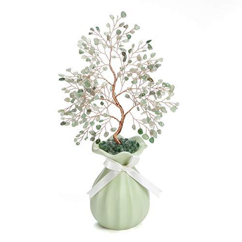 JSDDE - Albero della vita con vaso in ceramica, per il Feng Shui, base portafortuna per la cristalloterapia, decorazione per casa e ufficio