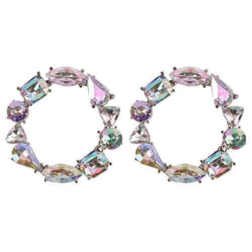 Ohrringe, Ohrstecker Barlingrock, Mode Damen Ringform Diamant Ohrringe Mode Einfache Europäische und Amerikanische Ohrringe (Multicolor)