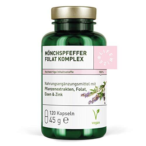 LifeWize® Mönchspfeffer Kapseln Hochdosiert + Folsäure (Folat) bei Kinderwunsch mit Eisen, Zink & Vitamin C, speziell für die Fruchtbarkeit der Frau