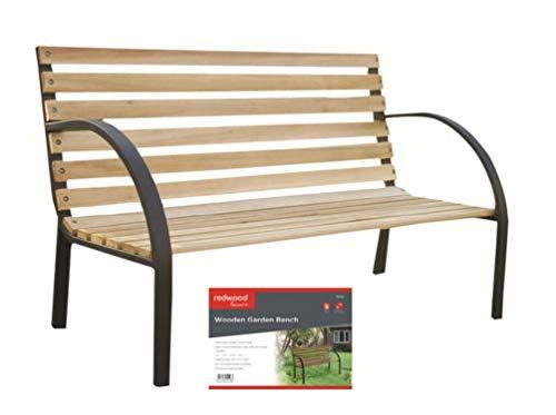 Garden Mile 2 Person Seat Garden Outdoor Wooden Patio Bench with Steel Frame, Teak Hardwood Garden or Patio Furniture 2 Seater Benches Outdoor Patio Waterproof