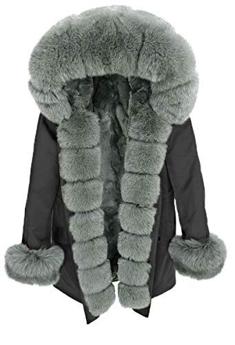 Lea Marie Parka XXL cuello de 100% piel auténtica chaqueta abrigo conejo Forro Forro Forro Forro Forro Forro de pelo Caqui, Gris