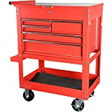 JEGS 5-Drawer Tool Box Cart | Smooth Ball Bearing Glides | Over 700 LBS Capacity | Red Powder Coated Finish | Includes Drawer Liners