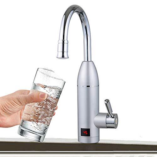 Elektrische Durchlauferhitzer Wasserhahn Küchenarmatur mit LCD-Temperaturanzeige Durchlauferhitzer Sofort Warm Armatur für Küche Waschraum Bad 3000 W