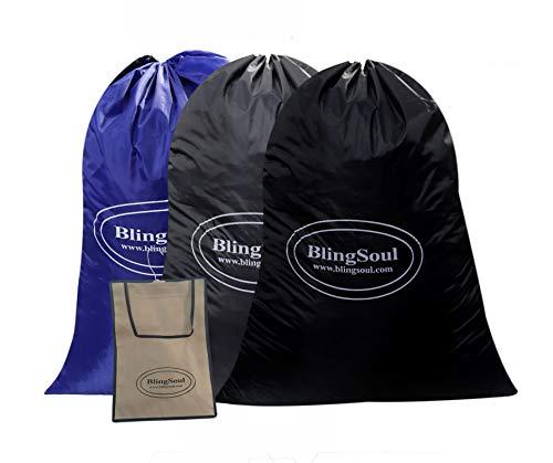 Blingsoul Paquete de 3 bolsas de lavandería grandes de viaje – bolsa de ropa sucia de viaje con cordón RipStop grande cesta de...