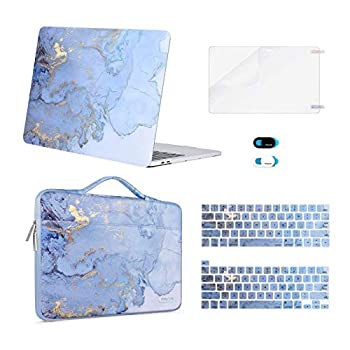 MOSISO Compatible with MacBook Pro 13 inch Case 2016-2020 A2338 M1 A2289 A2251 A2159 A1989 A1706 A1708 Plastic Watercolor Marble Hard Case&Bag&Keyboard Skin&Webcam Cover&Screen Protector Blue