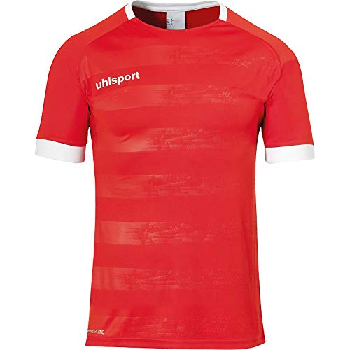 uhlsport Herren Division 2.0 Trikot Kurzarm Fussball Trainingsbekleidung, Rot/Weiß, 140
