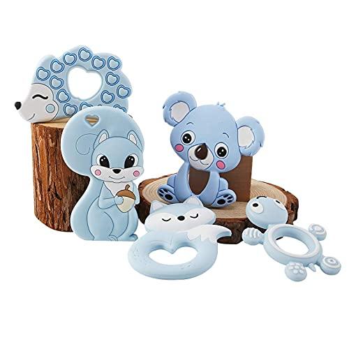 Mamimami Home 5pc Anneau de dentition en silicone pour bébé Accessoires pour soins infirmiers pour animaux Collier de dentition bricolage Bracelet pendentif à mâcher Jouets sensoriels