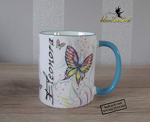Namenstasse, Tasse mit Namen, Kindertasse, Bürotasse mit Namen, Namenstasse für Mädchen, Schmetterling, Namenstasse Schmetterling