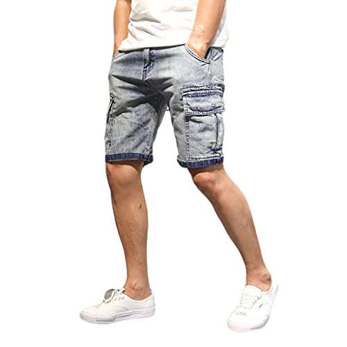 GDSSX Pantalones Cortos de Mezclilla de Verano Monos Rectos de múltiples Bolsillos para Hombre Casuales (Color : Blue, Size : XXL)