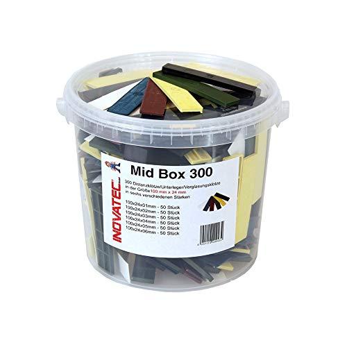 300 x Kunststoff Verglasungsklötze Set Glasklötze Unterleger 100x24x 1, 2, 3, 4, 5, 6 mm Distanzklötze Trageklötze Abstandshalter