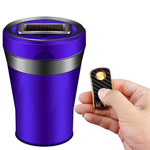 EastFly Car Ashtray, Detachable Ceramics Car Ashtray with Lid Blue Led Light and Removable Lighter Solar Energy and USB Dual Charging for Most Car Cup Holder