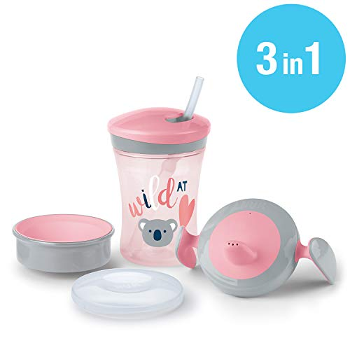 NUK Set per imparare a bere con Trainer Cup (6+ M), Magic Cup 360° biberon (8+ M) e Action Cup Tazza di apprendimento (12+ M), 230 ml, privo di BPA, k