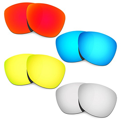 HKUCO Mens Replacement Lenses For Oakley Frogskins (Asia Fit) Red/Blue/24K Gold/Titanium Sunglasses