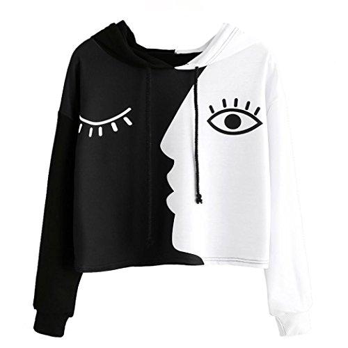 ESAILQ Frauen Sweatshirt mit Kapuze Langarm Crop Patchwork Bluse Pullover Tops (XXL, Schwarz)