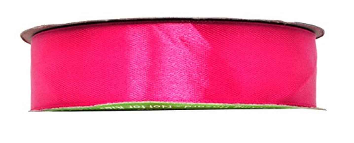 Mandala Crafts Satin Fabric Ribbon for Hair Bow Making, Gift Wrapping, Flowers, Decorations, and Weddings (1 inch 50 Yards, Hot Pink)