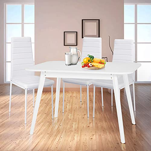 Dining Table Square Kitchen Table for Dining Room Kitchen Restaurant Office Bistro MDF Table Top and Pine Legs, 120 * 80 * 75 White
