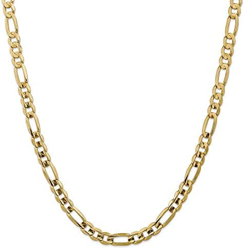 14k Yellow Gold 7 5mm Concave Link Figaro Chain Necklace 22 Inch Pendant Charm Fine Jewelry product image
