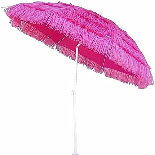 QDY Ombrello da Esterno Antivento da 2,4 m, ombrellone da Giardino Hawaiano Migliore, ombrellone da Spiaggia Regolabile in Altezza, per Giardino e Giardino con Piscina sul Prato, Rosa