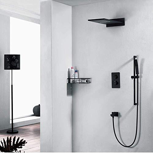 CLJ-LJ Juego de ducha termostática en la pared con sistema de ducha de cobre con rociador superior para grifo de ducha con 4 modos, color negro