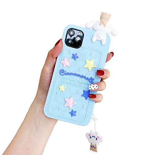 CaserBay for iPhone 11 Pro Max Case, 6.5-Inch, 3D Cute Kawaii Cartoon Animal Character Soft Silicone Shockproof Rubber Case with Removable Lanyard for Women Girl, Blue Cinnamoroll