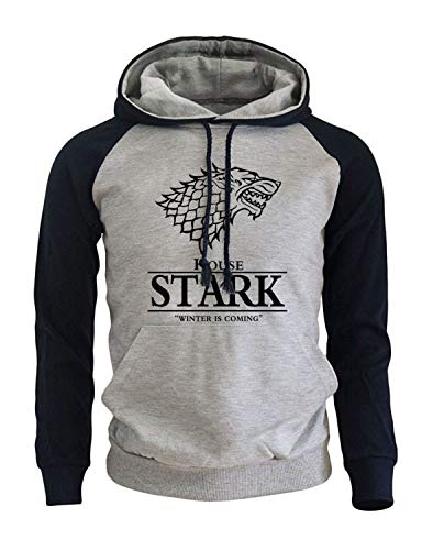 Game of Thrones Stark Unisex Hombre Impresión Pullover Sudaderas con Capucha con Bolsillos Grandes (3,EU L(Asian XL))