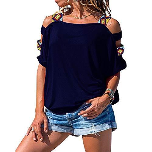 NOBRAND - Camiseta sexy de manga corta con hombros descubiertos, color sólido, para mujer Azul azul oscuro S