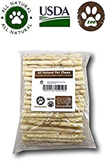 Rawhide Natural Twist Sticks -Pack Of 100 From Top Dog Chews - Regular