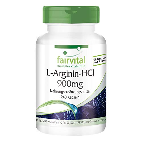 L-Arginin-HCl Kapseln 900mg - HOCHDOSIERT - VEGAN - 240 Kapseln