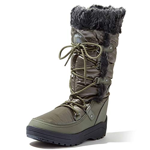 DailyShoes Knee High Faux Fur Lined Snow Boots Bootie Winter Warm Mid Calf Lace Up D Ring Waterproof Boot Eskimo for Women Alaska-01 Olive 10