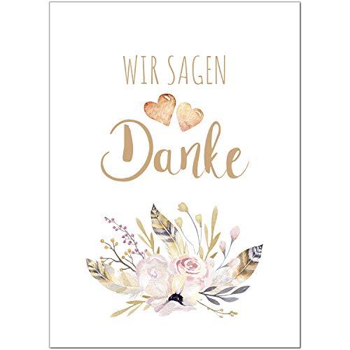 15 x Hochzeits-Dankeskarten - Motiv Aquarell Blumen zarte Farben - Danksagungskarten für Ehepaare um Danke zu sagen nach Hochzeit, Polterabend oder Hochzeitsfeier