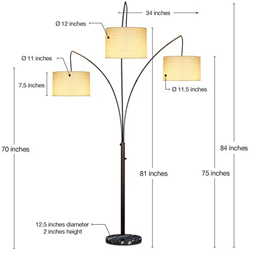 Brightech Trilage Arc Floor Lamp w/Marble Base - 3 Lights Hanging Over the Couch from Behind - Multi Head Arching Tree Lamp - For Mid Century, Modern & Contemporary Rooms - Oil Rubbed Bronze