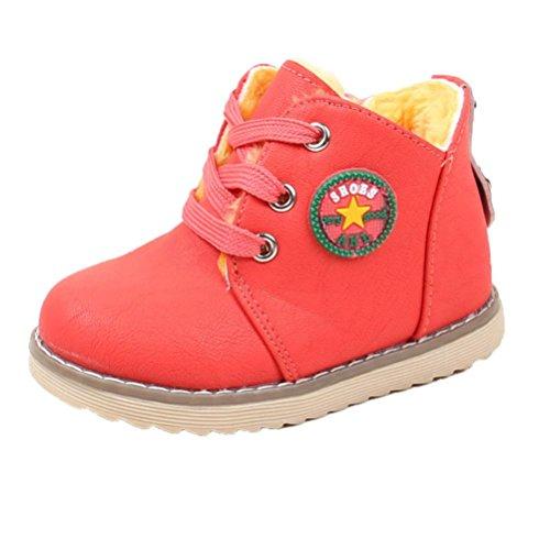 Hirolan Baby Lederschuhe Lammfell Babyschuhe Winterschuhe Unisex Jungen Mädchen Sport Schuhe Baby Mode Kleinkind Kinder Turnschuhe Anti-Rutsch (21, Rot)