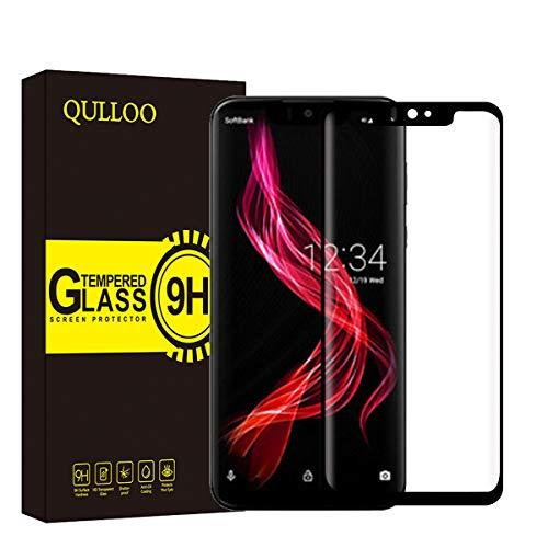 QULLOO AQUOS Zero ガラスフィルム 硬度9H 高透過率 薄型 3D 加工 ドコモ AQUOS Zero SoftBank 液晶保護フィルム