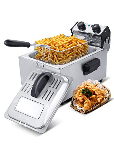 WantJoin Deep Fryer,Professional Grade Electric Deep Fryer,5 Liters Oil Capacity,Frying Basket,Adjustable Temperature and Timer, Lid with View Window, 2800 Watts, Stainless Steel