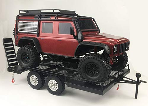 MeterMall Bouble Axis Heavy Duty All Metal Trailer for 1/10 Rc Rock Crawler Truck Traxxas Trx4 Axial Scx10 90046 90047 Cc01 D90 D110