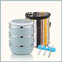 積み重ね可能なステンレススチールランチボックスとランチバッグ,大人のための食器が付いている漏れ防止食品貯蔵容器 オフィス-d 19.5x14.5cm(8x6inch)