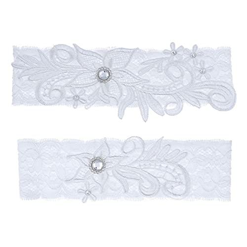 Liga nupcial elegante Liga de encaje elástico con piedras preciosas azules Anillo de muslo sexy Vestido de dama de honor Accesorios de boda - Blanco, 40-65CM (15.7-21.7in)