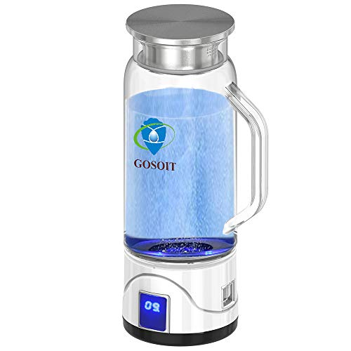 GOSOIT Hydrogen Alkaline Water Maker Machine Generator Hydrogen Water Bottle Pitcher Ionize System with SPE & PEM Tech,US Proton Membrane, Make Hydrogen Content to 800-1200 PPB