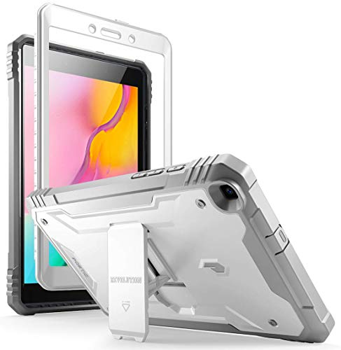 Galaxy Tab A 8.0 2019 Rugged Case with Kickstand,SM-T290 SM-T295, Poetic Full Body Shockproof Cover, Built-in-Screen Protector, Revolution, for Samsung Galaxy Tab A Tablet 8.0 Inch (2019), White/Gray