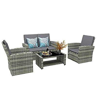 YITAHOME 5 Piece Patio Furniture Sets, All-Weather Outdoor Patio Conversation Set, PE Rattan Wicker Small Sectional Patio Sofa Set with Table, Gray Gradient