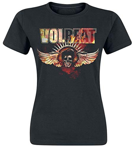 Preisvergleich Produktbild Volbeat Burning Skullwing Frauen T-Shirt schwarz L 100% Baumwolle Band-Merch,  Bands,  Totenköpfe