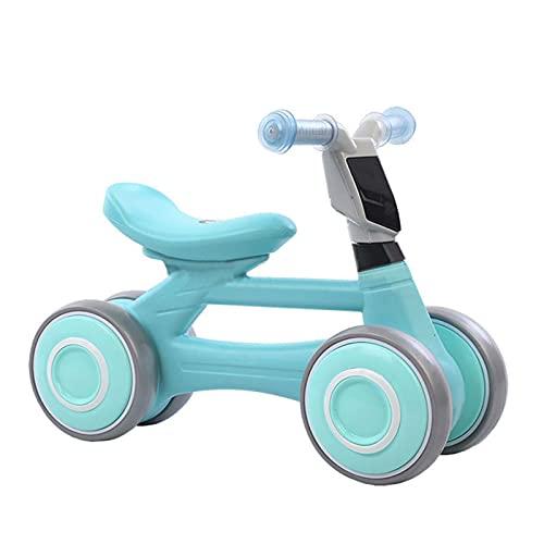 LIYGHFRTIO Bicicletas de Equilibrio para Bebés Bicicletas Sin Pedales 4 Ruedas con Música y Luz para 1-4 Años de Edad Ride-on Toys Regalos de Interior Outdoo Best First Birthday Regalo(Color:Azul)