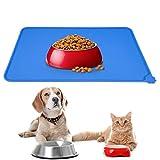 Tappetini Sottociotola Animali,Tappetino per Ciotola di Cibo Antiscivolo per Cani Mantenere Pulito Il Pavimento(47 x 30cm blu)
