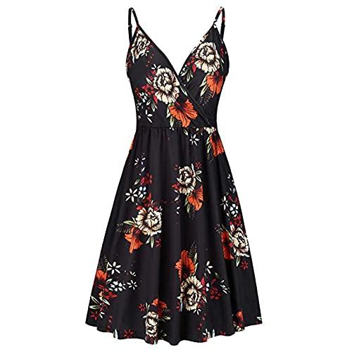 Women's V-Neck Sleeveless Dresses Summer Casual Swing Pleated Dress Beach Party Spaghetti Strap Dress