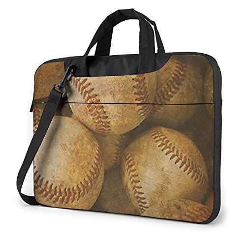 LAOLUCKY Laptop Bag Briefcase Shoulder Bag Laptop Bag Satchel Tablet Bussiness Carrying Handbag Laptop Sleeve for Women and Men - Vintage Baseball American Retro Balls