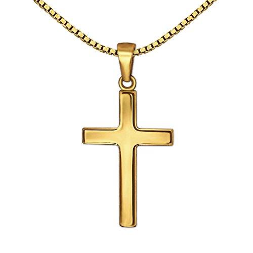 CLEVER SCHMUCK Set Goldener Anhänger kleines Kinder Kreuz 15 mm schlicht glänzend 333 Gold 8 Karat mit vergoldeter Kette Venezia 38 cm für kleines Mädchen oder Junge