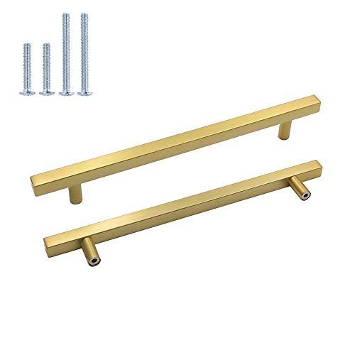10pieza Muebles acero inoxidable tubo cuadrado oro Puerta Fahrradgriffe LS1212gd latón Armario Tirador cajón Tirador para Incluye Tornillo